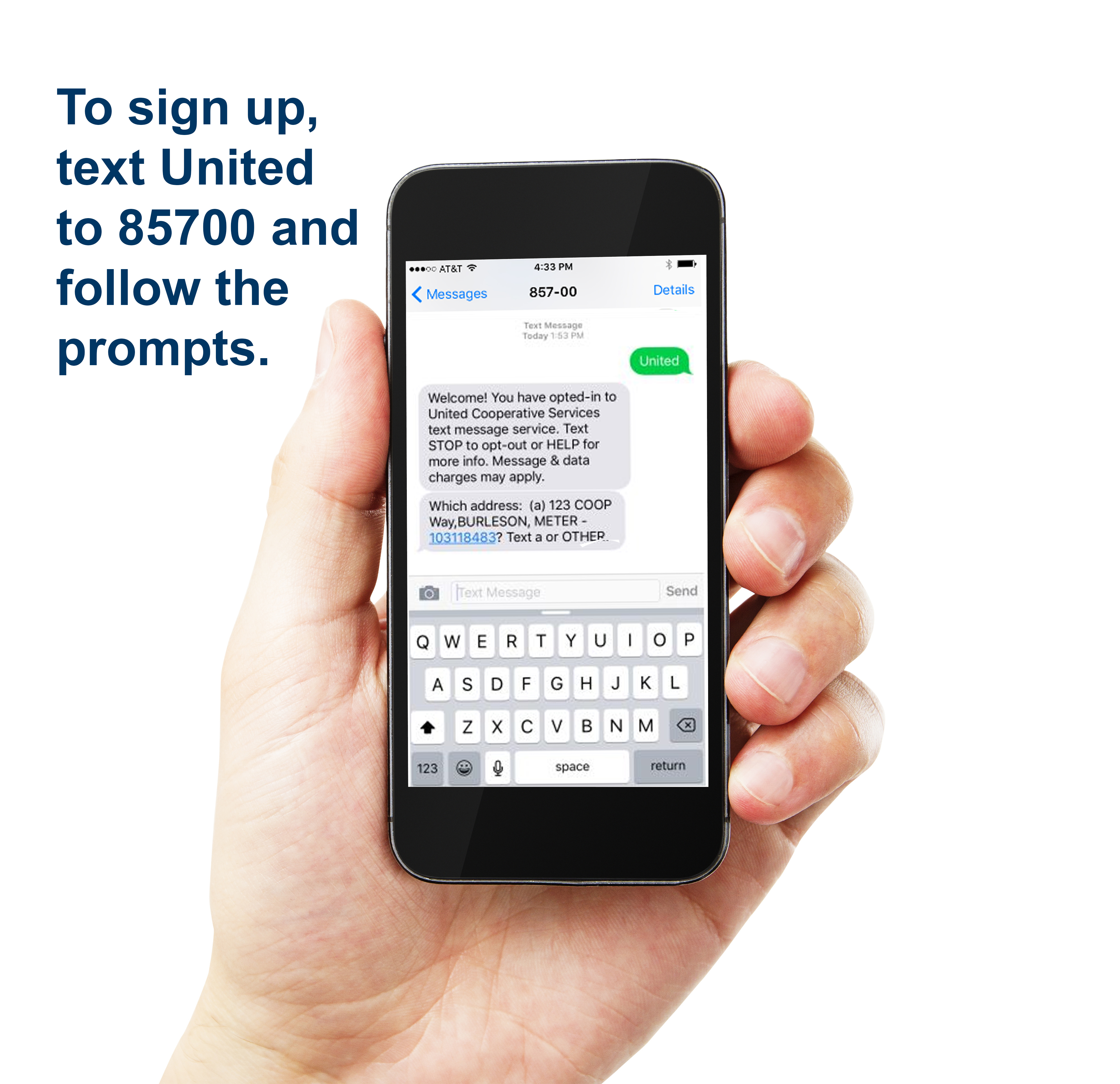 Cell phone to sigh up text United to 85700 and follow the prompts.