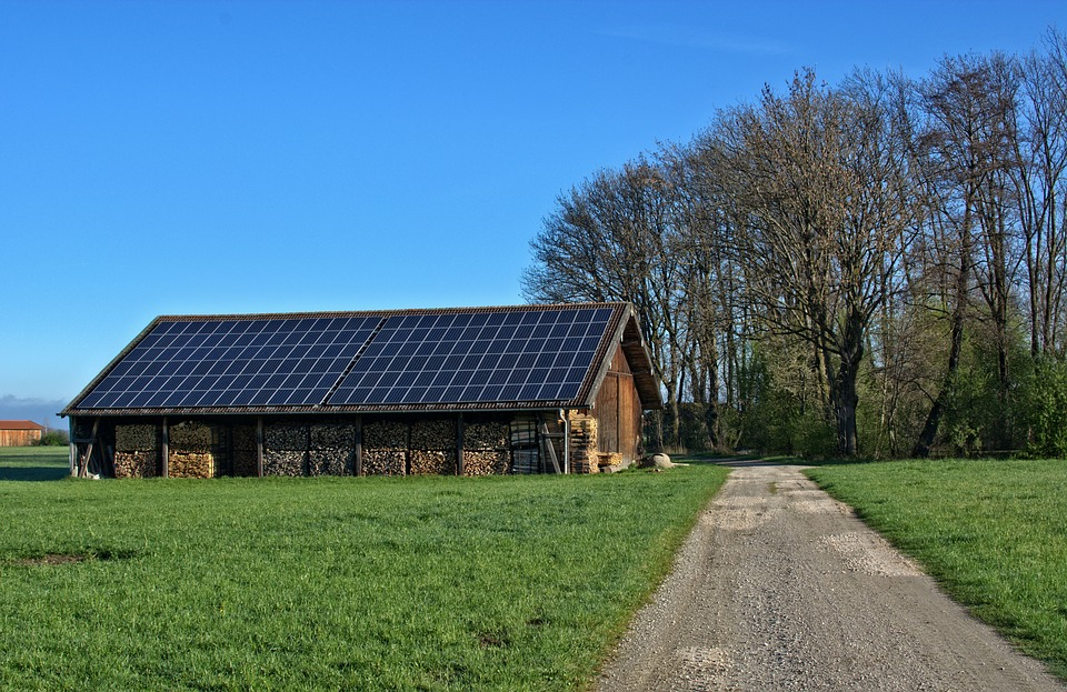 Barn with Solar Panels on the roof.