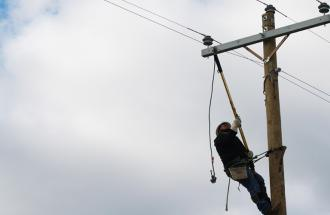 Lineman on a pole