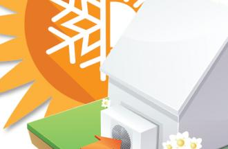 heat pump and sun graphic